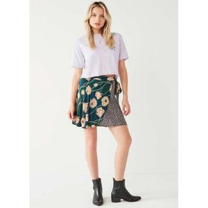 Urban Outfitters Abigail Floral Mini Wrap Skirt